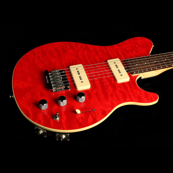 Used Ernie Ball Music Man Axis Super Sport Electric Guitar Trans Red G21045