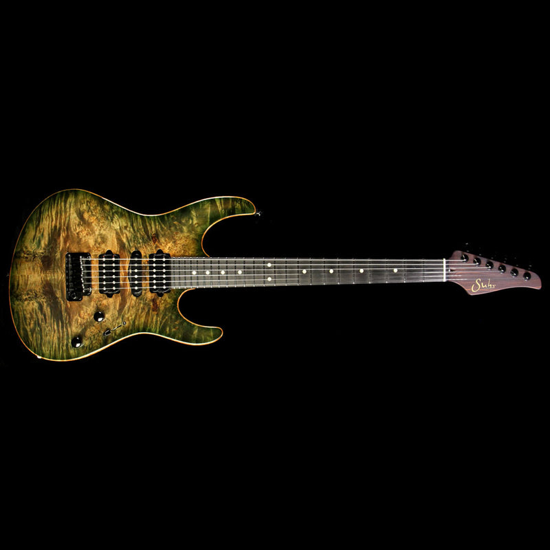 Used 2014 Suhr Modern Basswood/Burl Maple Electric Guitar Faded Transparent Green Burst 25342