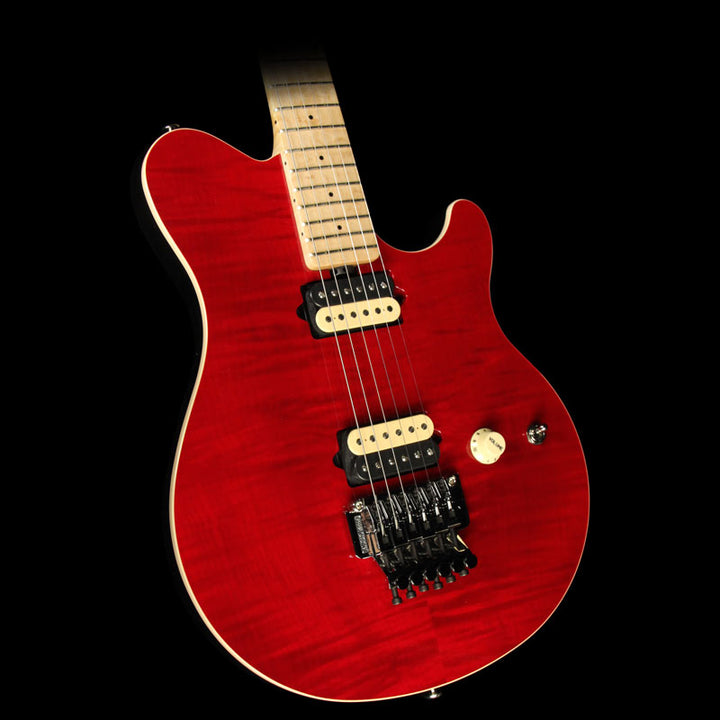 Used Ernie Ball Music Man Axis with Floyd Rose Electric Guitar Transparent Red G75357