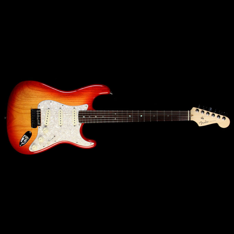 Used 2012 Fender American Deluxe Stratocaster Strat Electric Guitar Sunset Metallic US12204139