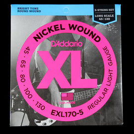 D'Addario Nickel Wound 5-String Long-Scale Bass Strings 45-130