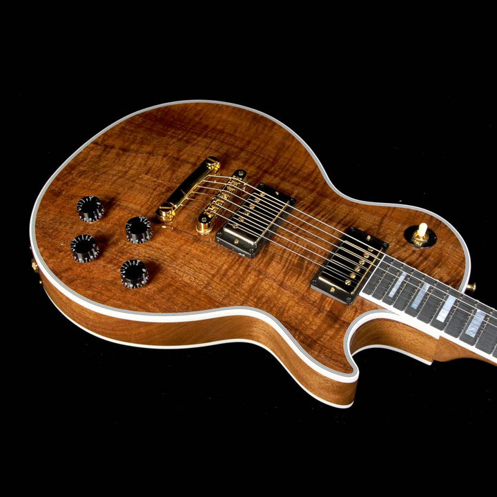 gibson custom shop les paul custom koa top electric guitar natural the music zoo. Black Bedroom Furniture Sets. Home Design Ideas