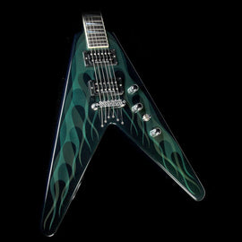 Used Jackson Custom Shop Dave Mustaine Y2KV Electric Guitar Green Ghost Flames