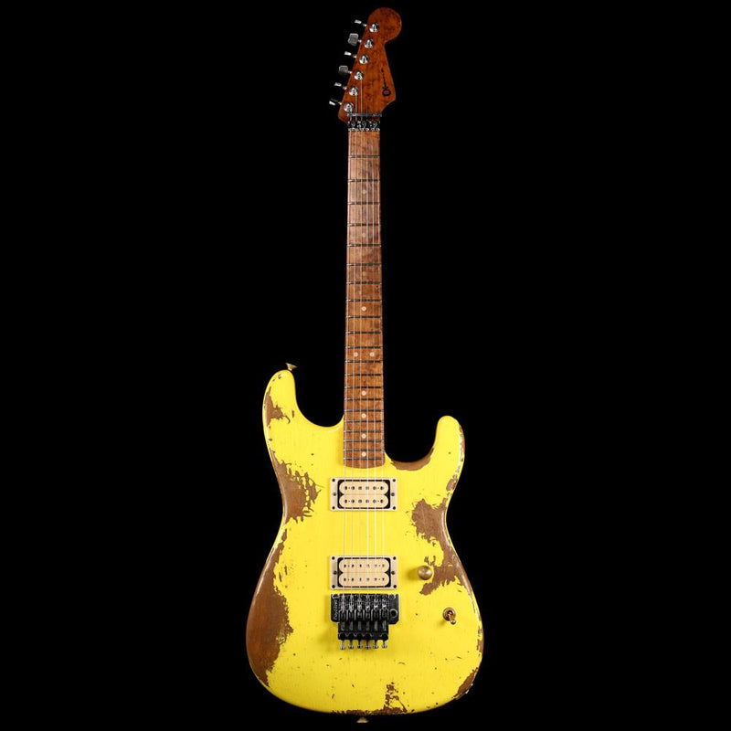 Charvel Custom Shop San Dimas Nitro Aged Roasted Alder Graffiti Yellow C10917