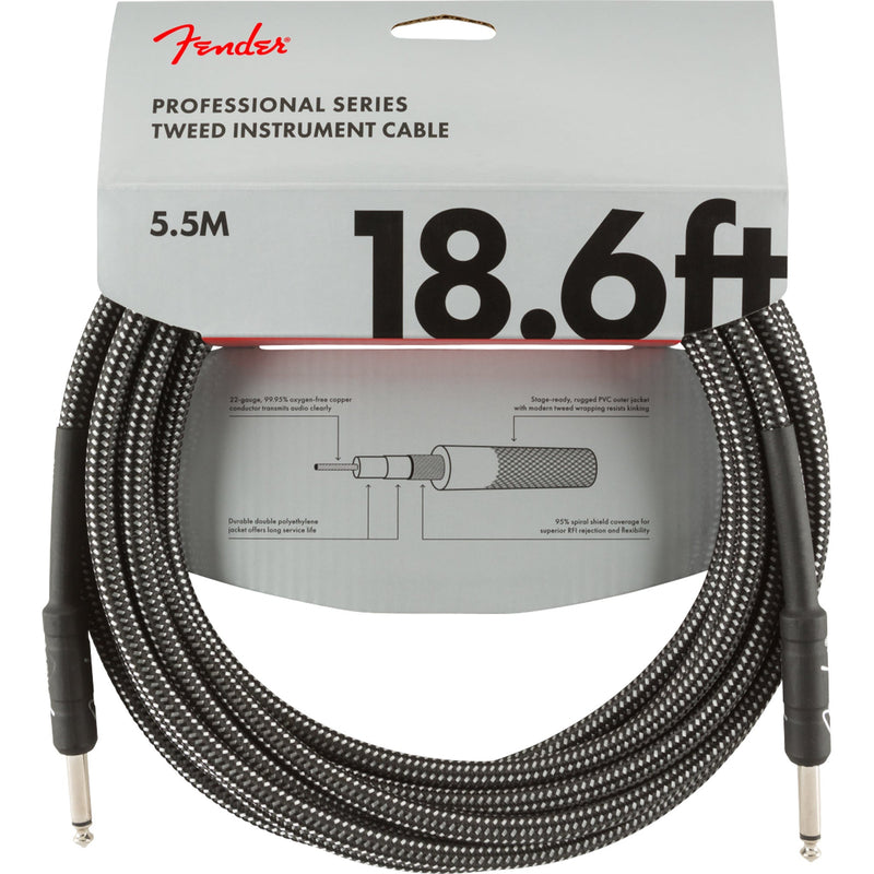 Fender Pro Series Instrument Cable 18.6 Feet Straight Gray Tweed 0990820068