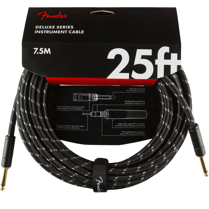 Fender Deluxe Series Instrument Cable 25 Feet Straight Black Tweed 990820075