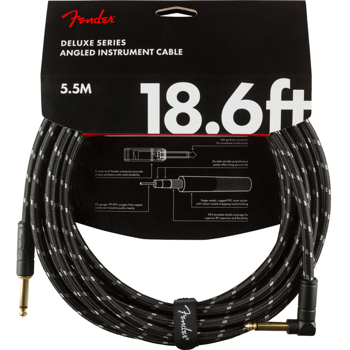 Fender Deluxe Series Instrument Cable 18.6 Feet Angled Black Tweed 990820079