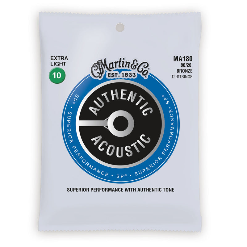 Martin MA180 Authentic Acoustic Guitar Strings 80/20 Bronze 12-String Extra Light 10-47 41Y18MA180