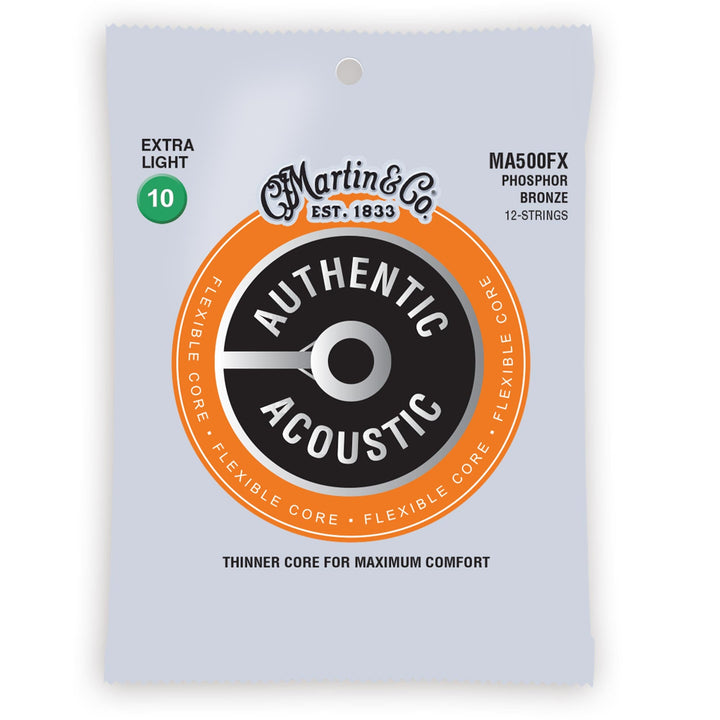 Martin MA500FX Authentic Acoustic Flexible Core Strings 12-String Phosphor Bronze Extra Light 10-54 41Y19MA500FX