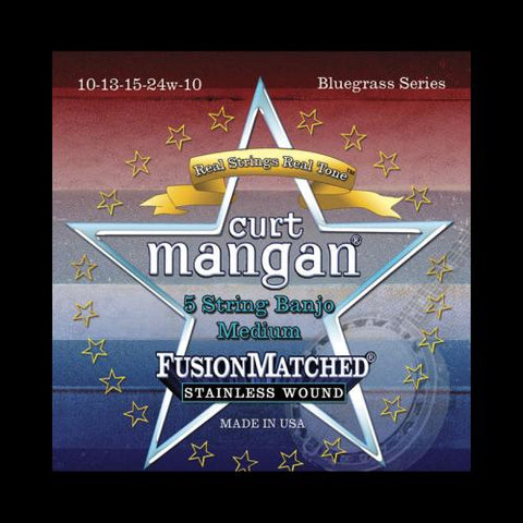 Curt Mangan Fusion Matched Stainless Wound 5-String Banjo Strings (10-10)