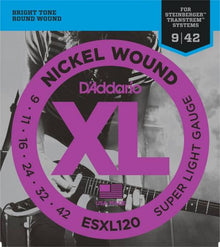 D'Addario Nickel Wound Double Ball End Strings (Super Light 9-42)