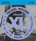 D'Addario Nickel Wound Electric Strings (Med Top/Heavy Bottom 11-52)
