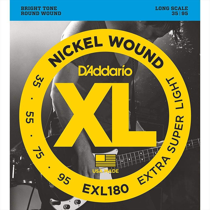 D'Addario Nickel Wound Bass Strings (Extra-Super Light 35-95) EXL180