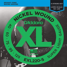 D'Addario Nickel Wound 5-String Bass Strings (Super Light 40-125)