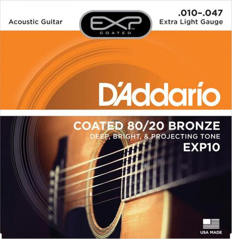 D'Addario EXP Coated 80/20 Bronze Acoustic Strings (X-Light 10-47)