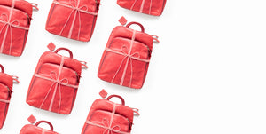 red backpacks wrapped in bows on white background