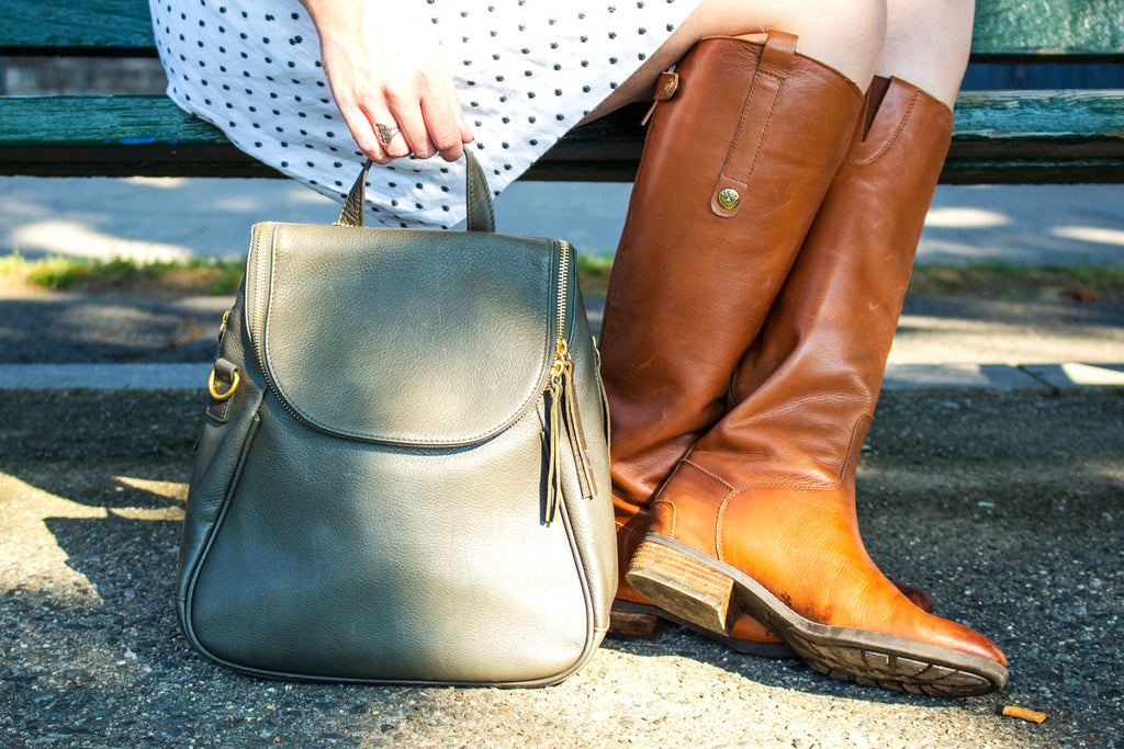 joni backpack in olive with tan boots