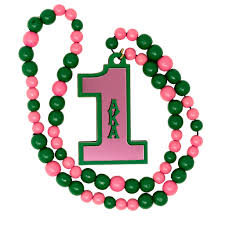 AKA ACRYLIC LINE NUMBER PINK & GREEN TIKI BEADED NECKLACE, AKA NECKLACE