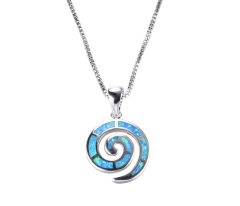 Blue opal spiral pendant necklace sterling silver cimal style blue opal spiral pendant necklace sterling silver mozeypictures Gallery