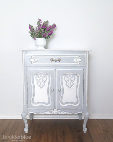 How I Painted a French Blue Nightstand