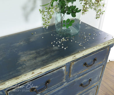 Distressed Painting... Indigo Blue Chest