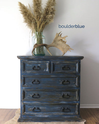 Hand Painted Indigo Blue Chest