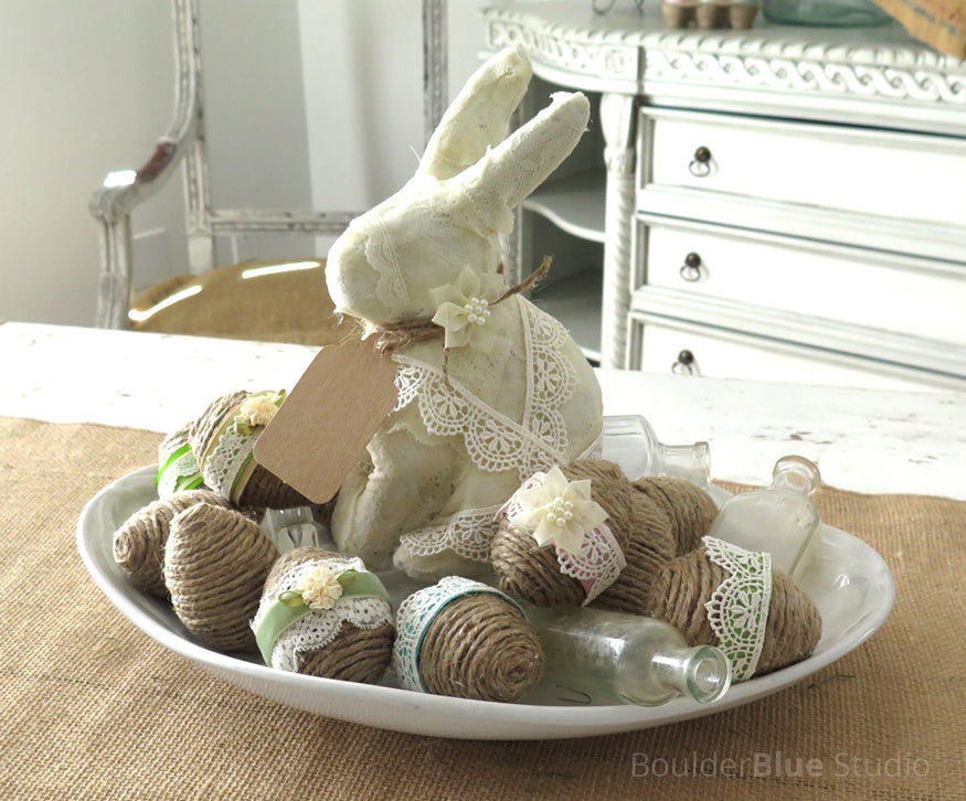 decoupaged lace bunny