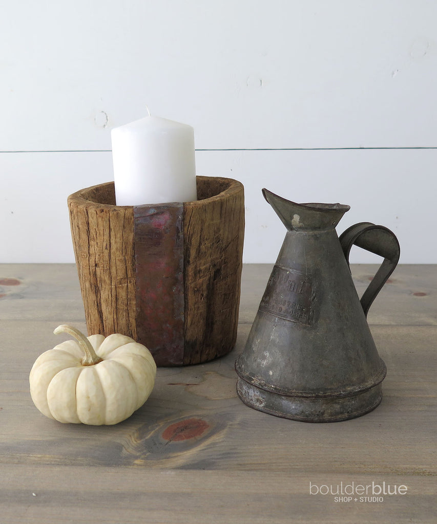 small zinc pitcher and wood bowl