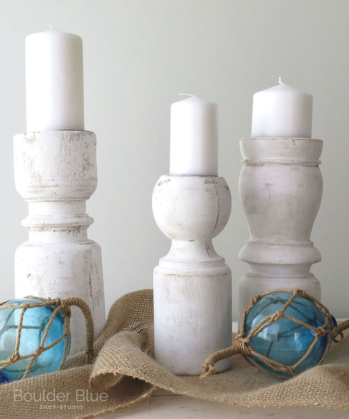 white candle holders set of 3