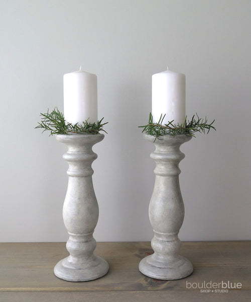painted ceramic candle holders