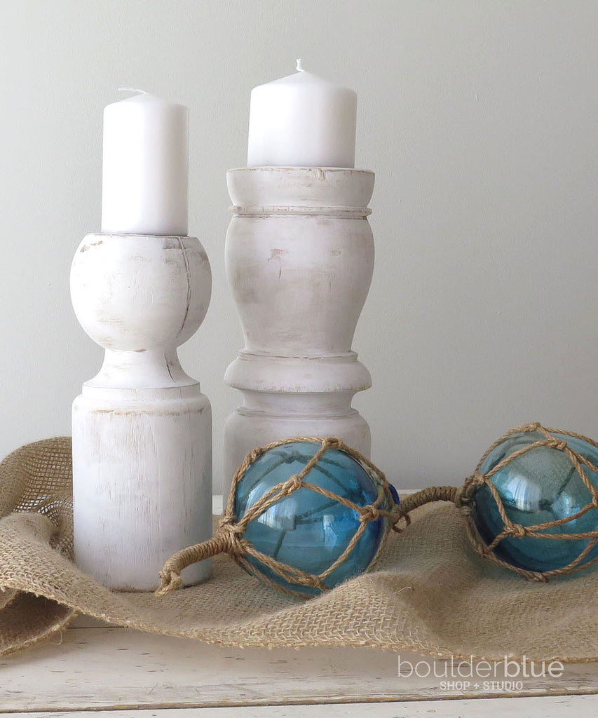 white painted pair candle holders