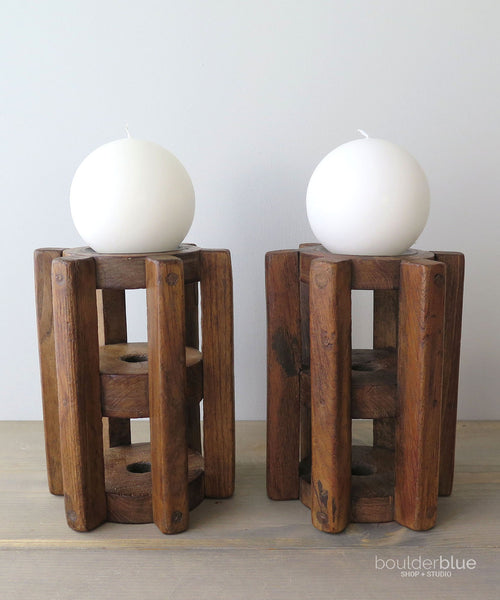 vintage wood cog candle holders