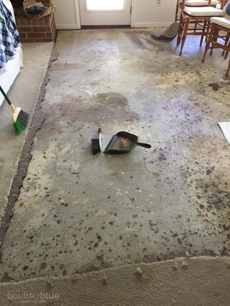 unpainted concrete floor