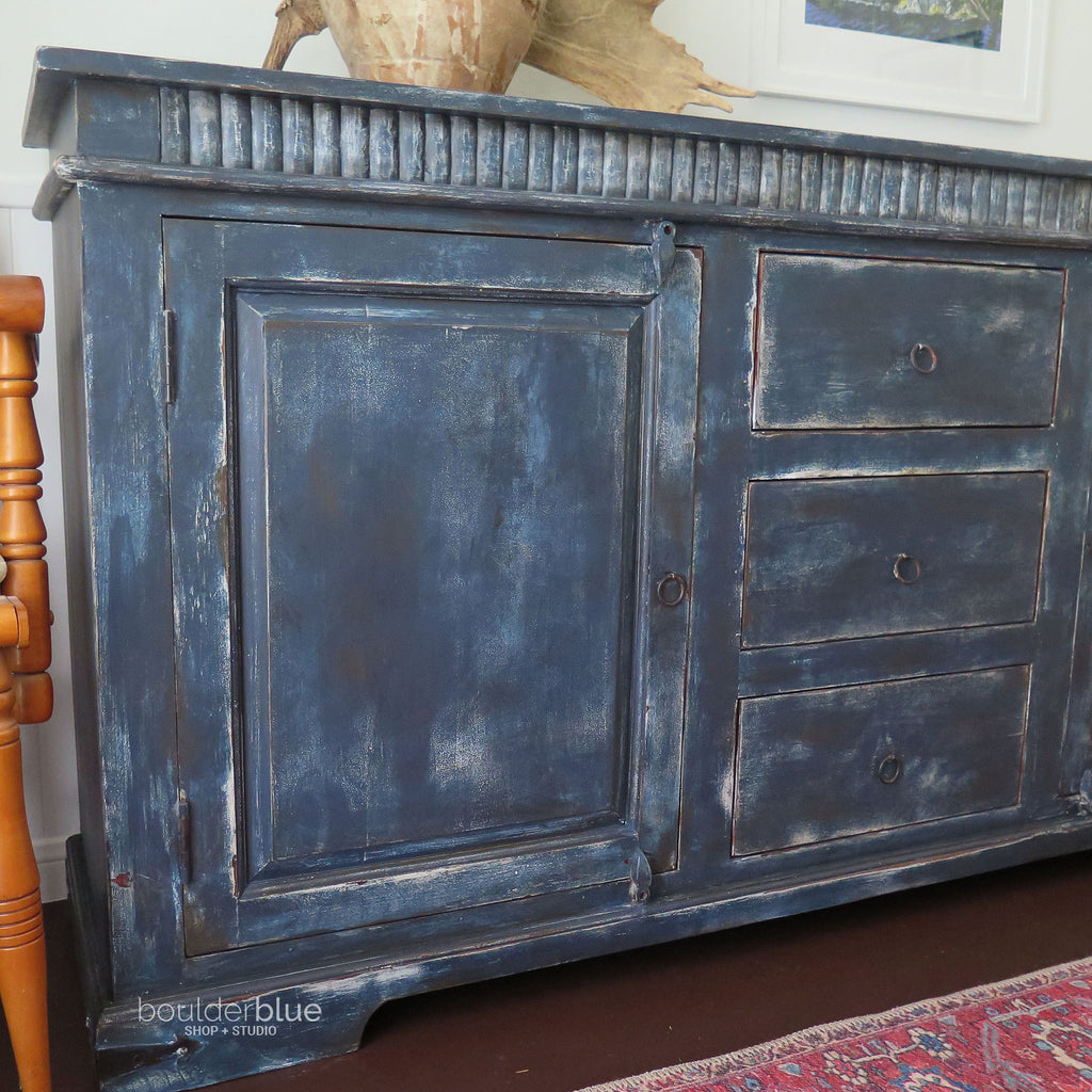 Indigo sideboard close up