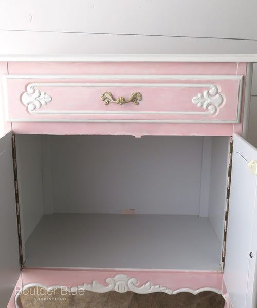 Inside Pink French cabinet