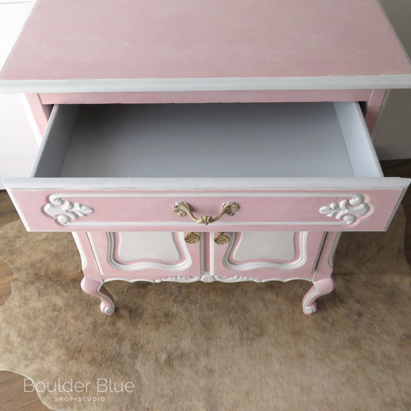 Pink French Cabinet inside drawer