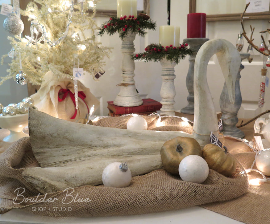 Painted wood swan holiday vignette