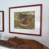 Vintage Asian Wood Block Print of Two Ducks