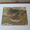 Vintage Asian Wood Block Print of Two Ducks closeup