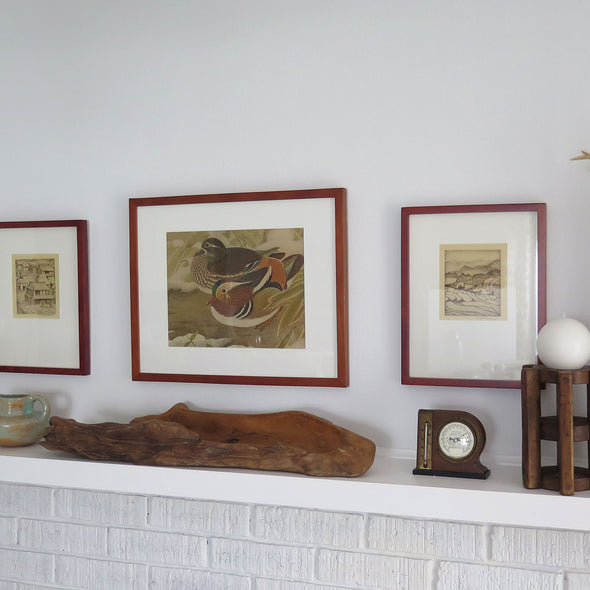 Vintage Asian Wood Block Print of Two Ducks in room