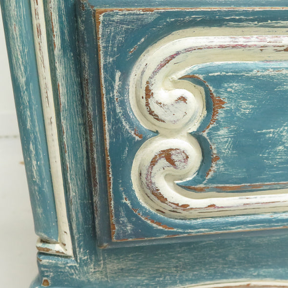 Vintage Painted French Commode Chest close up