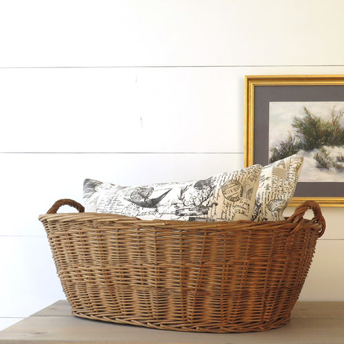 Vintage French Oval Wicker Laundry Basket