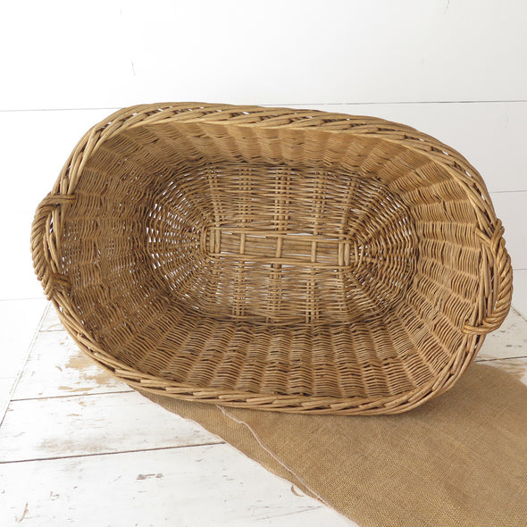 French Laundry Oval Wicker Basket