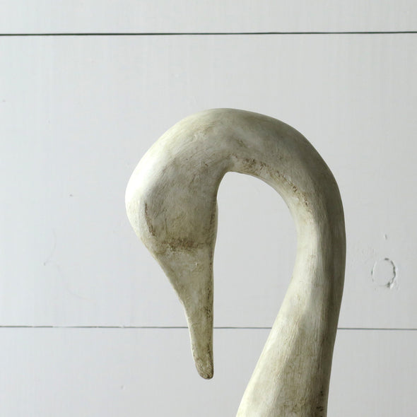 Painted Carved Wood Swan close up