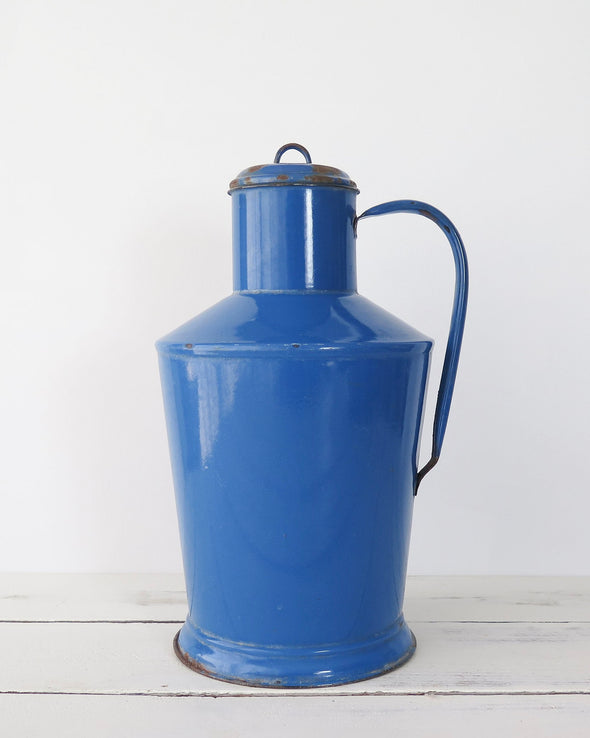 Hungarian Blue Enamelware Pitcher Large
