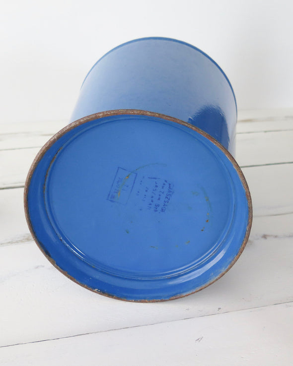 Hungarian Blue Enamelware Pitcher Large close up