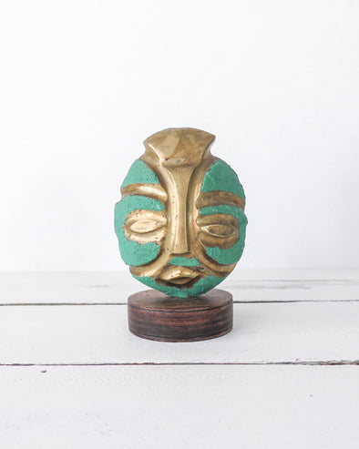 Mid-Century Brass Brutalist Style Tribal Mask