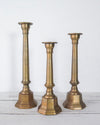 Mid-Century Brass Candlestick Holders, Set of 3