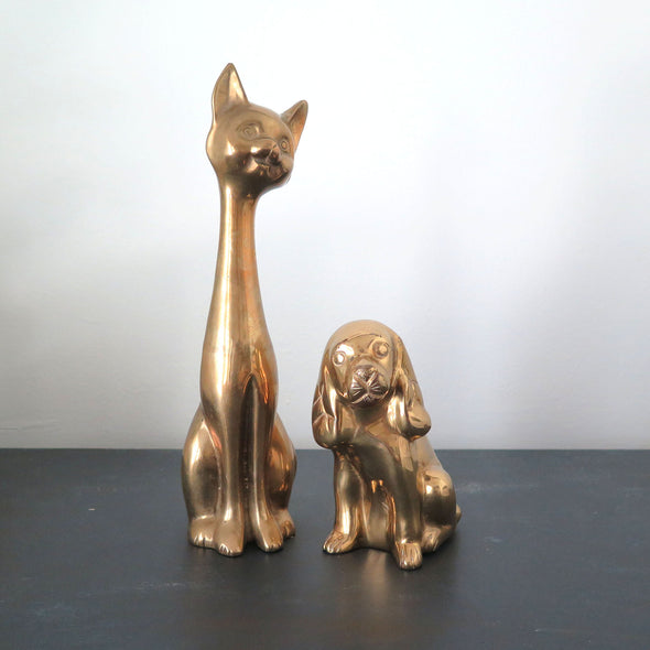 Solid Brass Siamese Cat and Dog