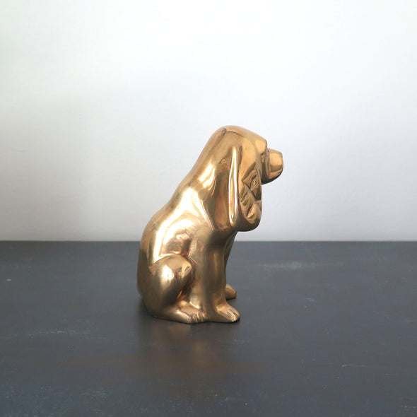 Vintage Brass Cocker Spaniel Dog side view